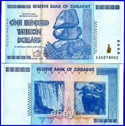 Zimbabwe 100 Trillion Dollars 2008 P 91 ABOUT UNC