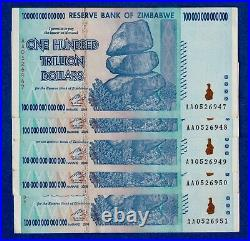 Zimbabwe 100 Trillion Dollars, 2008, P-91, Circulated Aa Vf/ef