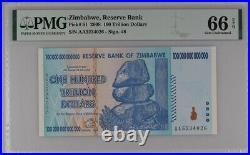 Zimbabwe 100 Trillion Dollars 2008 P 91 GEM UNC PMG 66 EPQ