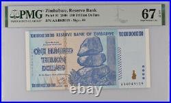 Zimbabwe 100 Trillion Dollars 2008 P 91 SUPERB GEM UNC PMG 67 EPQ