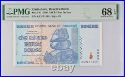 Zimbabwe 100 Trillion Dollars 2008 P 91 Superb Gem UNC PMG 68 EPQ