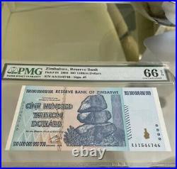 Zimbabwe 100 Trillion Dollars  AA/2008, P-91, UNC, 1 piece Pmg 66 Genuine