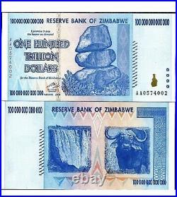 Zimbabwe 100 Trillion Dollars  AA/2008, P-91, UNC, 1 piece UV LIGHT genuine