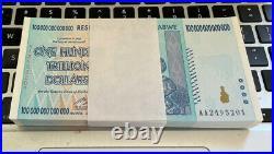 Zimbabwe 100 Trillion Dollars  AA/2008, P-91, UNC, X 100 pieces (consecutive)
