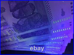 Zimbabwe 100 Trillion Dollars Aa 2008 Series Unc Uv Inspected Coa Certificate