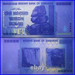 Zimbabwe 100 Trillion Dollars Banknote 1 Piece Genuine UNC Uncirculated AA+ 2008
