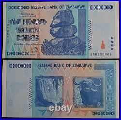 Zimbabwe 100 Trillion Dollars Currency 2008 Aa Unc + Free 50 Million Bill
