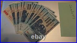 Zimbabwe 100 Trillion Dollars X 10 Pieces PCS, AA/2008, P-91, UNC, 100 Trillion