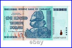 Zimbabwe 100 Trillion Dollars banknote AA 2008 P91 UNC inflation currency bill