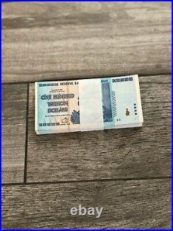 Zimbabwe 100 Trillion Dollars x100 Pcs Bundle, 2008, Uncirculated, Consecutive