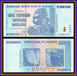 Zimbabwe 100 Trillion Dollars x 10 Pcs, 2008 AA (1/10 Bundle) Unc