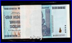 Zimbabwe 100 Trillion Dollars x 10 Pcs pcs AA 2008 Series UNC Bundle Currency #1