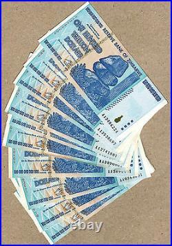 Zimbabwe 100 Trillion Dollars x 10pcs AA 2008 P91 VF used currency bills