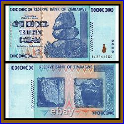 Zimbabwe 100 Trillion Dollars x 5 Pcs Bundle, 2008 AA P-91 Unc