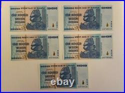 Zimbabwe 100 Trillion Dollars x 5 Pcs Bundle, 2008 AA P-91 Unc Black Uv Tested