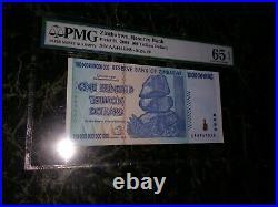 Zimbabwe 100 Trillion Dollarspmg 65 Poker + Lucky #4444888 P91 Unc Fancy 888