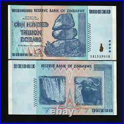 Zimbabwe 100 Trillion x 100 Pcs AA 10 20 & 50 Trillion Dollars Series UNC Bundle