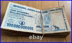 Zimbabwe 100 X 100 Billion Dollar Banknote P64 (100 Pcs.) Aa/ab Used Agro Cheque