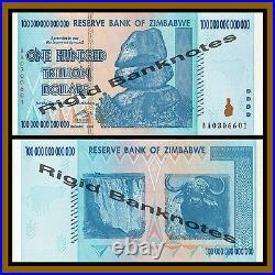 Zimbabwe 10 20 50 100 Trillion Dollars (4 Pcs Set), 2008 AA Unc