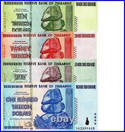 Zimbabwe 10 20 50 100 Trillion Dollars Set of 4 Banknotes UNC AA+ 2008