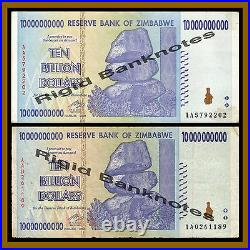 Zimbabwe 10 Billion Dollars x 1000 Pcs (Bundle, Brick), 2008 AA/AB Circulated
