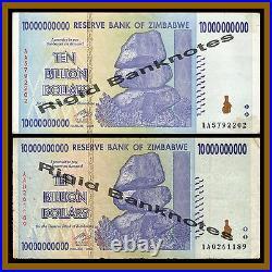 Zimbabwe 10 Billion Dollars x 100 Pcs Bundle, 2008 USED 50 Trillion Series