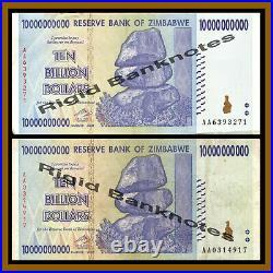 Zimbabwe 10 Billion Dollars x 500 Pcs Bundle, 2008 AA/AB Cir, 100 Trillion Serie