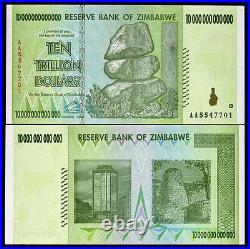 Zimbabwe 10 Trillion Dollars 10 Pieces Lot 2008 Banknote UNC AA+ (100 Trillion)