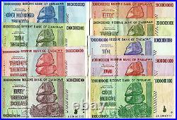 Zimbabwe 1 Billion to 100 Trillion Dollars banknotes 2008 full set VF currency