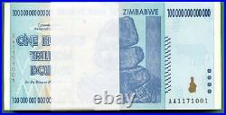 Zimbabwe 2008 100 Trillion Dollars, Aa P-91 Unc 50 Pcs Uv Light Tested