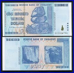 Zimbabwe 2008 100 Trillion Dollars Reserve Bank Of Zimbabwe, Aa P-91 Gem Unc