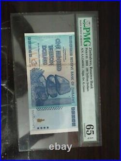 Zimbabwe 2008 Pick 91 100 Trillion Dollars, 100000000000000 Dollar, PMG 65