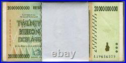 Zimbabwe 20 Billion Dollars x 100 pcs bundle AA/AB 2008 P86 VF currency bills
