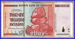 Zimbabwe 20 trillion Dollars x 100 pcs AA 2008 P89 VF used currency bills bundle