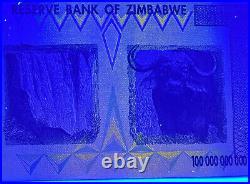 Zimbabwe 4 Notes 10, 20, 50 & 100 TRILLION Dollar 2008 UNC AUTHENTIC & UV Passed