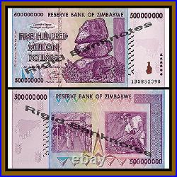 Zimbabwe 500 Million Dollars x 100 Pcs Bundle, 2008 AB UNC, 100 Trillion Series