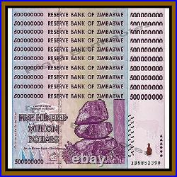 Zimbabwe 500 Million Dollars x 10 Pcs, 2008 AB Unc, 100 Trillion Series