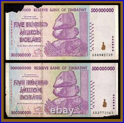 Zimbabwe 500 Million Dollars x 500 Pcs Bundle, 2008 AA/AB Cir, 100 Trillion