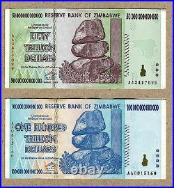 Zimbabwe 50 & 100 Trillion Dollars 2008 VF currency bills