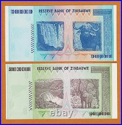 Zimbabwe 50 & 100 Trillion Dollars AA 2008 P-90 & 91 UNC AUTHENTIC & UV PASSED