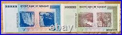 Zimbabwe 50,100 Trillion Zim Dollars 2008 Aa Unc Set Uv Pass Coa Certificate