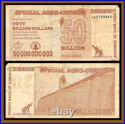 Zimbabwe 50 Billion Dollars Agro Cheque x 100 Pcs Bundle, 2008 Used (Cir)