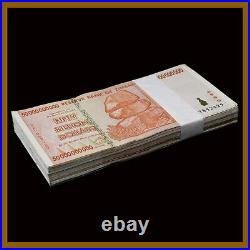 Zimbabwe 50 Billion Dollars x 100 Pcs Full Bundle Lot, 2008 Circulated Used