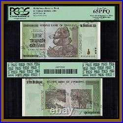 Zimbabwe 50 Trillion Dollars, 2008 AA P-90 Error Offset 0218790 PCGS 65 EPQ