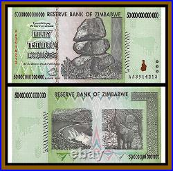 Zimbabwe 50 Trillion Dollars, 2008 AA UV Tested Authentic Unc, 100 Serie