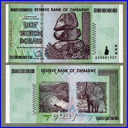 Zimbabwe 50 Trillion Dollars 2008 Banknote 1 Piece UNC Uncirculated AA+