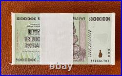 Zimbabwe 50 Trillion Dollars  AA/2008, P-90 UNC, X 100 pieces(consecutive)