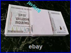 Zimbabwe 50 Trillion Dollars Bundle 100 Pieces Series 100 Trillion 2008 Unc P90