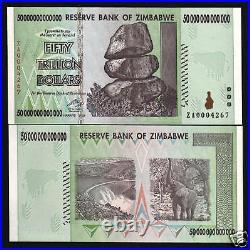 Zimbabwe 50 Trillion Dollars P-90 2008 Za Replacement Elephant Unc Money Note