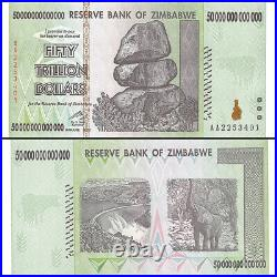 Zimbabwe 50 Trillion Dollars Series X 100 Pieces (PCS), AA/2008, P-90, UNC, Bundle